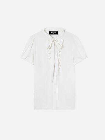 Chemise en charmeuse stretch - Blanc casse