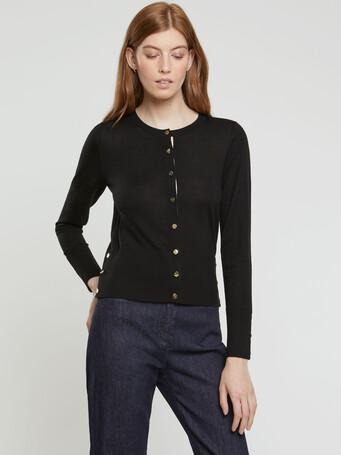 Merino-wool cardigan - Noir