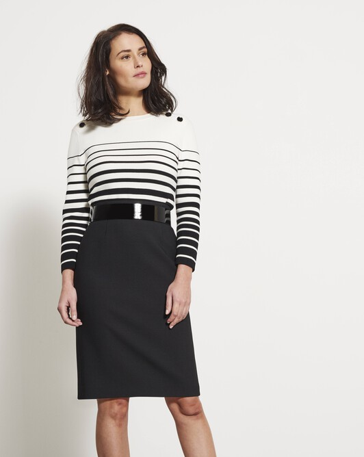 Nautical-striped sweater - Blanc casse / encre