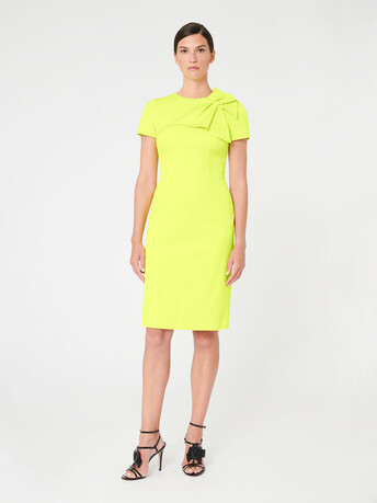 Ottoman-stretch dress - Lime