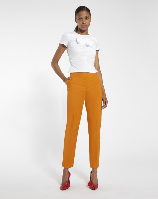 Pants in stretch-cotton poplin - Tangerine