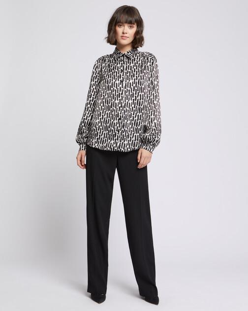 Brushstroke-print viscose blouse