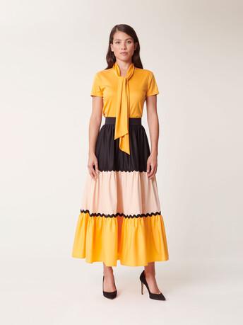 Stretch-satin poplin skirt - Noir / gingembre