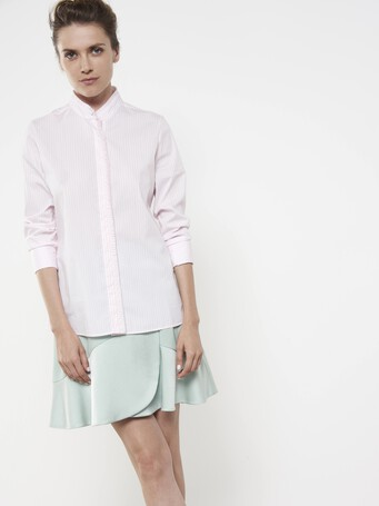Chemise en popeline stretch à rayures - Rose pale