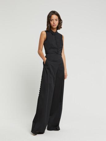 Pantalon large en popeline satinée - Noir