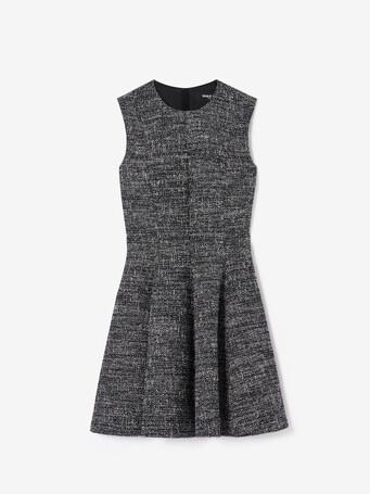 Robe courte en tweed chiné - Noir