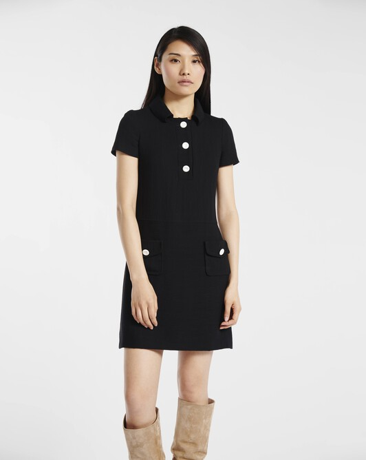 Dress in viscose seersucker - black