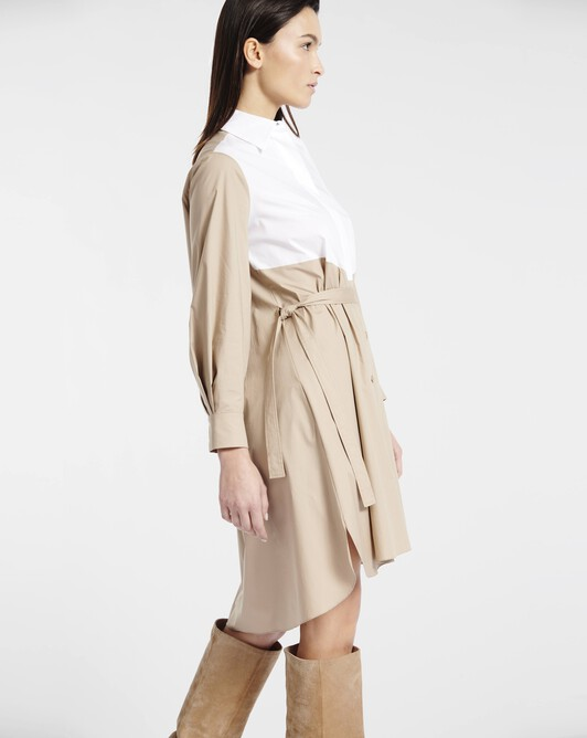 Dress in stretch-cotton poplin - Beige / blanc