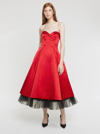 Duchess silk satin dress - Ruby