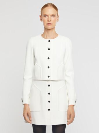 Cardigan en tricotine stretch - Blanc casse