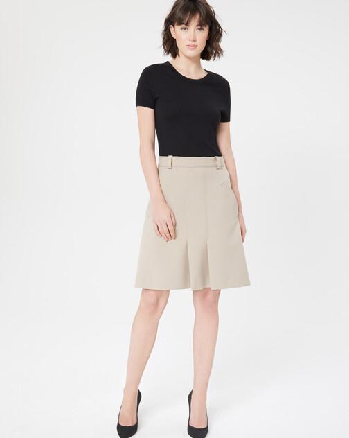 Bi-material stretch-tricotine dress