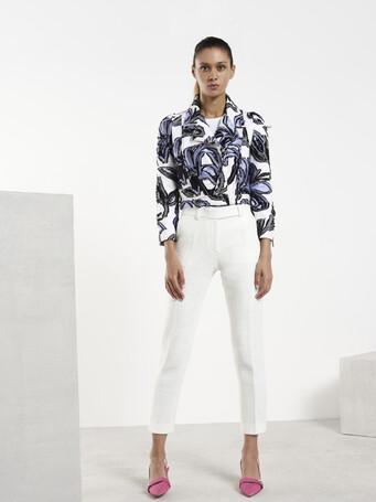 Pantalon en piqué de coton stretch - Blanc