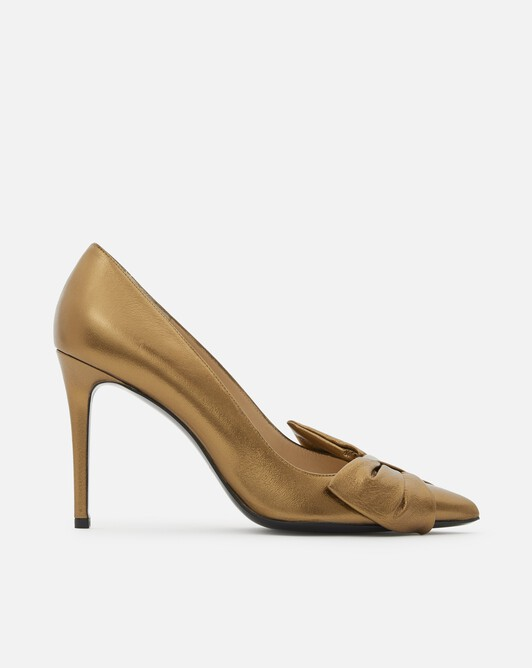 Laminated leather pumps - Or brillant