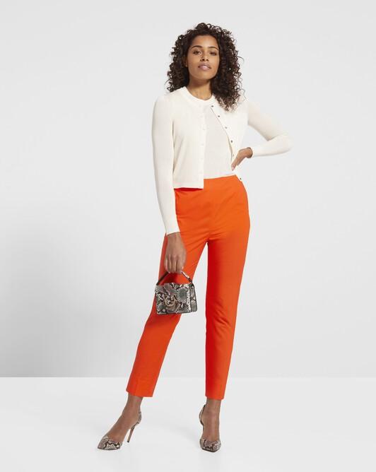 Pantalon en popeline de coton stretch - Orange