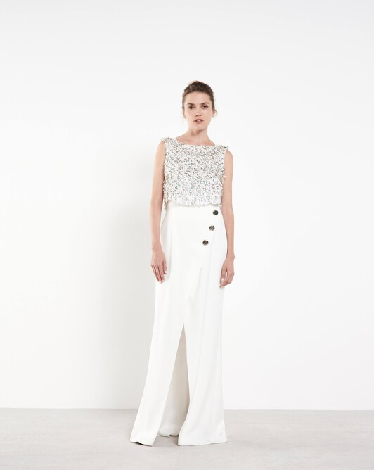 Satin-back crepe gown - Off white