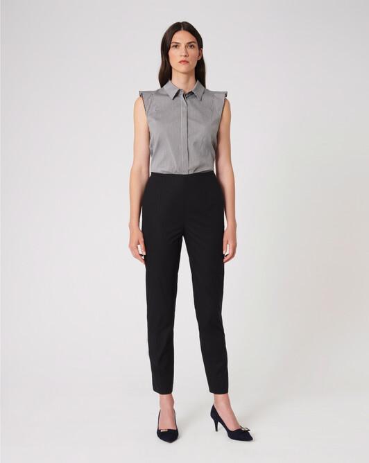 Gingham poplin shirt - Noir / blanc