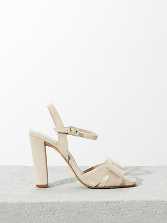Suede leather sandals - Sand