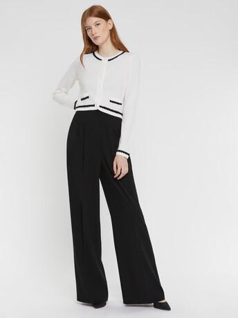 Cardigan court en laine et cachemire - Blanc casse / noir