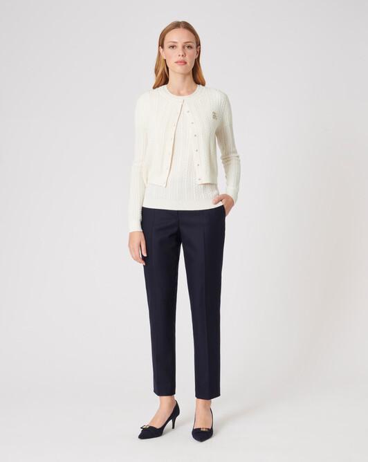 Cardigan en laine et cachemire - Blanc casse