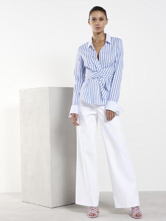 Pantalon en tricotine de coton stretch - Blanc