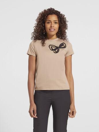T-shirt en jersey de coton - Beige