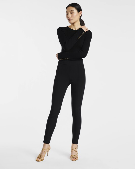 Pantalon en crêpe viscose stretch - Noir