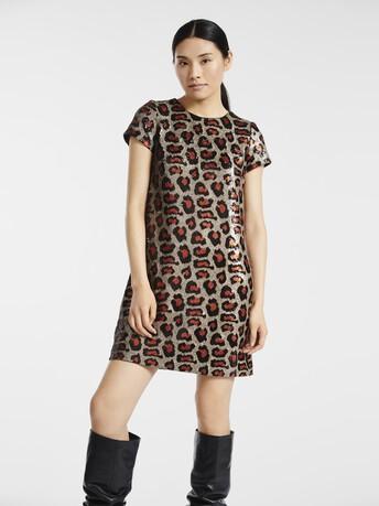 Robe en paillettes léopard - Beige / orange