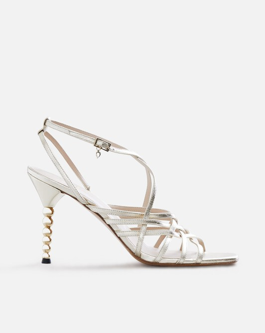 Metallic leather pumps - Or clair